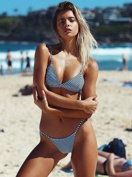 Stripe Bikini Set Beach Look Swimwear