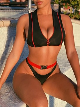 Zipper Sexy Color Block Swimwear