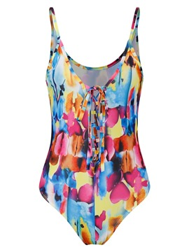 Beach Look Color Block Print Monokini