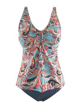 Pleated Tankini Set Color Block Swimwear