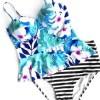 Stripe Floral Ruffles 2-Pcs Tankini Bathing Suits