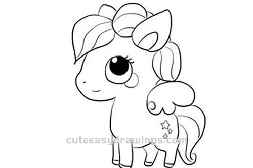 How To Draw A Pegasus In My Little Pony Step By Step For Kids Cute Easy Drawings