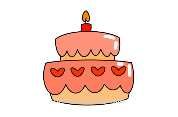 How To Draw A Birthday Cake Easy Step By Step For Kids Cute Easy Drawings