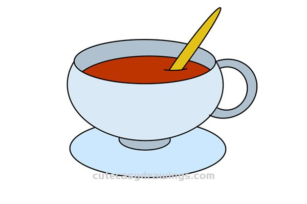 How To Draw A Cup Of Coffee Easy Step By Step For Kids Cute Easy Drawings