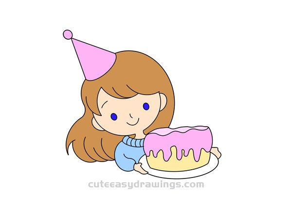 How To Draw A Birthday Girl Easy Step By Step For Kids Cute Easy Drawings