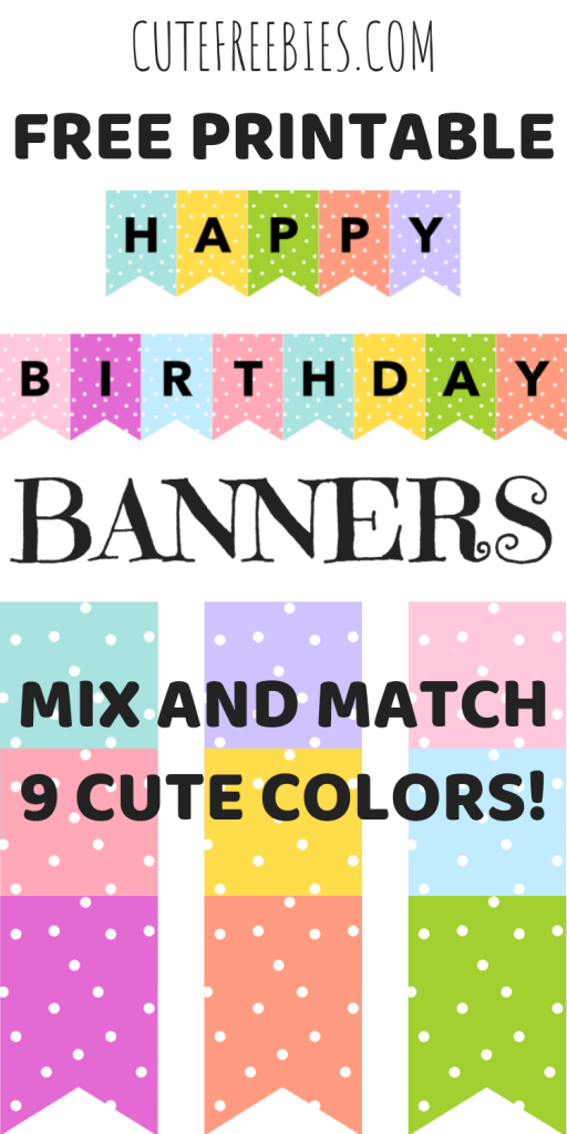 happy birthday banners buntings free printable cute freebies