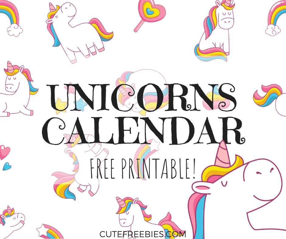 Cute Unicorn 2020 Calendar - Free Printable! - Cute ...