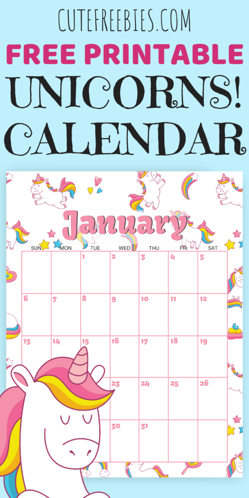 Cute unicorns calendar for 2019 FREE printable! With blank calendar template. Free 2019 calendar with unicorns for kids. #freeprintable #unicorns #cutefreebies