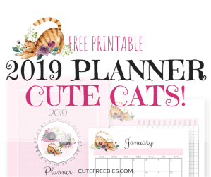 FREE Cute Cats Planner For 2019! Get your free printable planner with 2019 monthly calendar, future log, weekly planner, trackers and planner templates. Download now! #freeprintable #printableplanner #cutefreebies