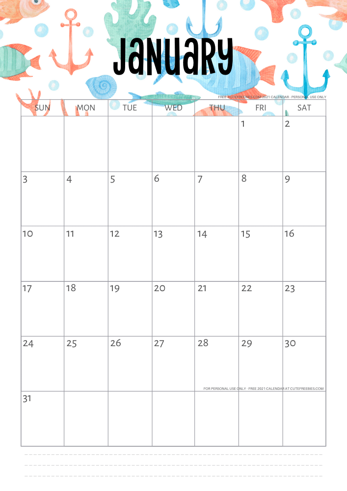 Free Printable 2021 Sea Themed Calendar + More Freebies ...