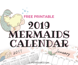 Free Little Mermaid Calendar For 2019! This cute 2019 monthly calendar has a unique mermaid for each month. Free download now! #2019calendar #cutefreebies #freeprintable #mermaid