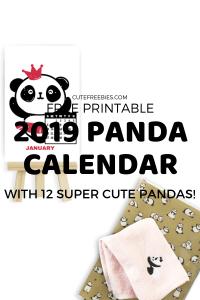 Cute Panda Calendar For 2019! Free printable monthly calendar, halfsize desk calendar with 12 cute pandas. Free download now! #panda #cutefreebies #freeprintable #2019calendar