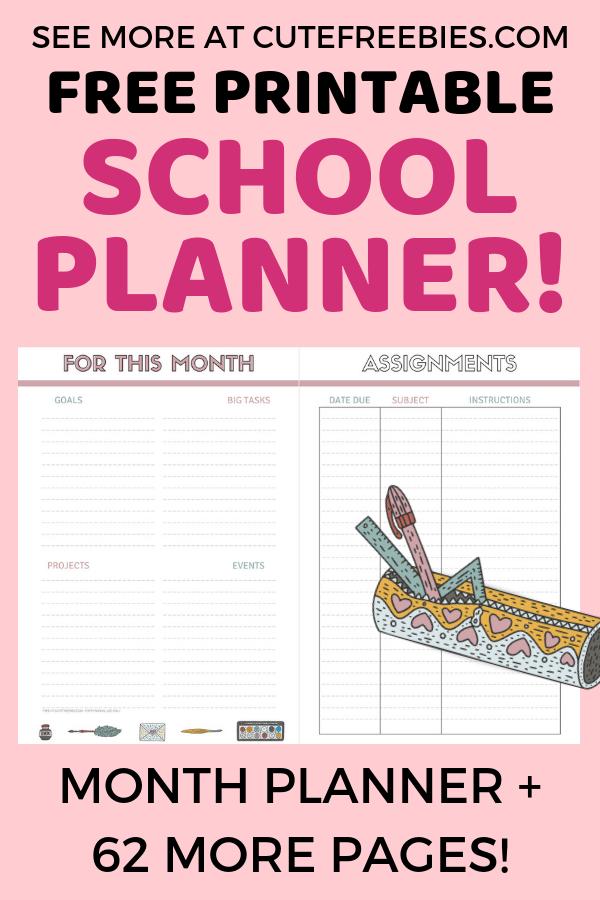 photo regarding School Planner Printable named Totally free University Planner Printables For 2019-2020! - Lovable
