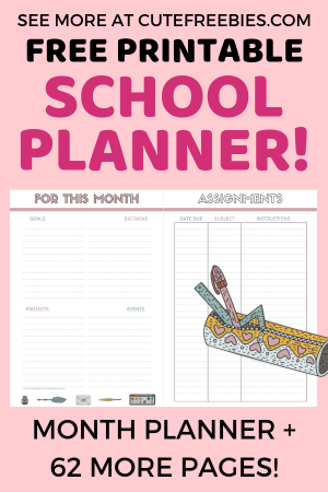 Free School Planner Printables For 2019 2020 Cute Freebies For You