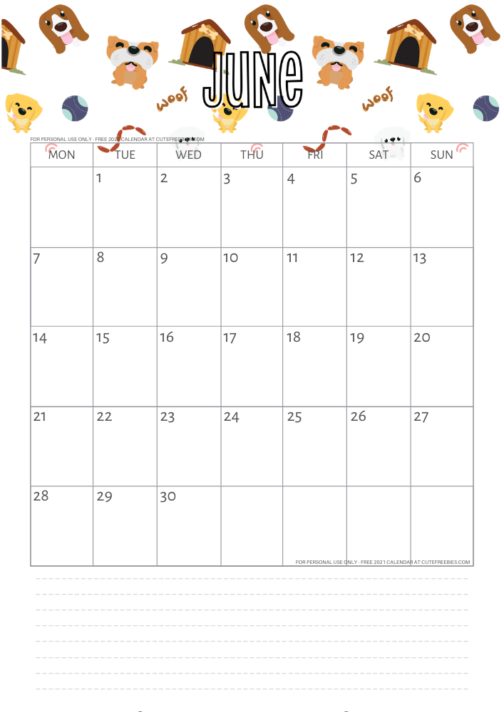 2021 Free Printable Calendar With Dogs For A Happy Year ...