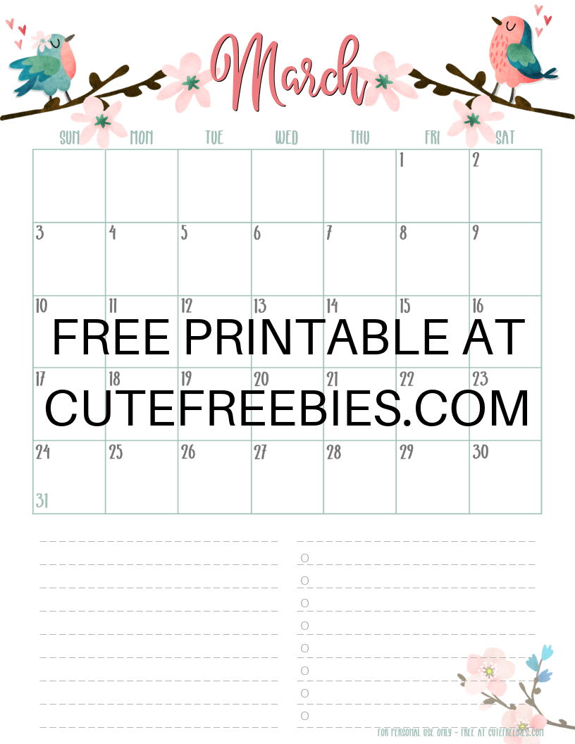 Free Printable Monthly Calendars 2020 Free 2019 / 2020 Printable Monthly Planner + Stickers!   Cute