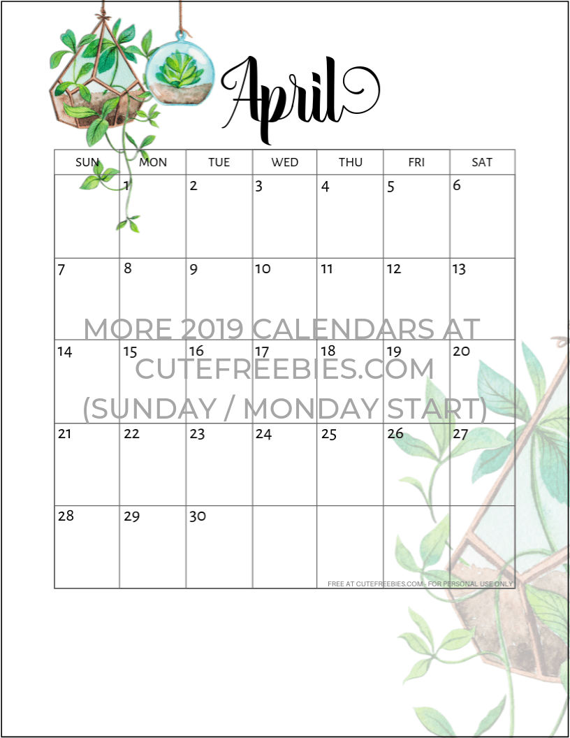 Free Printable 2020 Monthly Calendar.2019 2020 Calendar Free Printable Plants Theme Cute Freebies