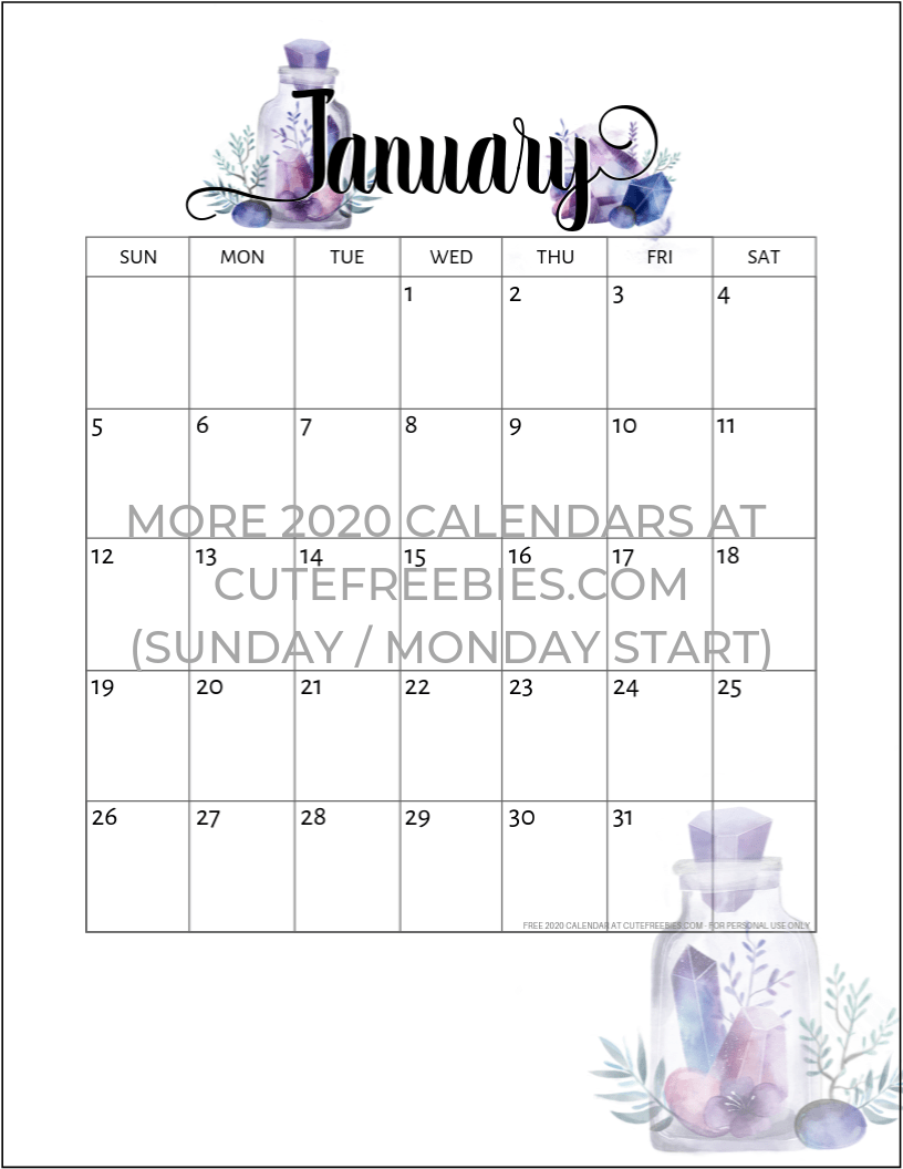 January 2020 Calendar Birthday Theme No Numbers January 2020 calendar free printable crystals   Cute Freebies For You