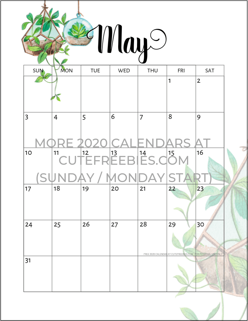 Calendar May 2020.May 2020 Calendar Printable Plants Cute Freebies For You