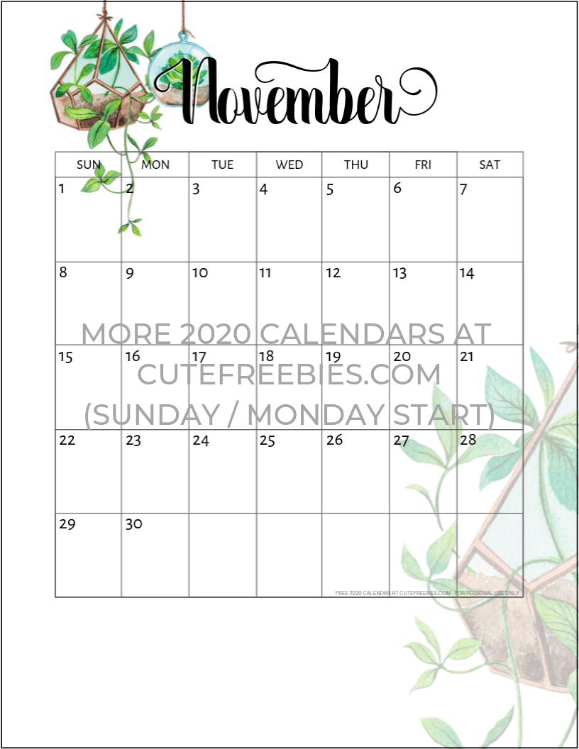 November 2020 Calendar Printable.November 2020 Calendar Printable Plants Cute Freebies For You