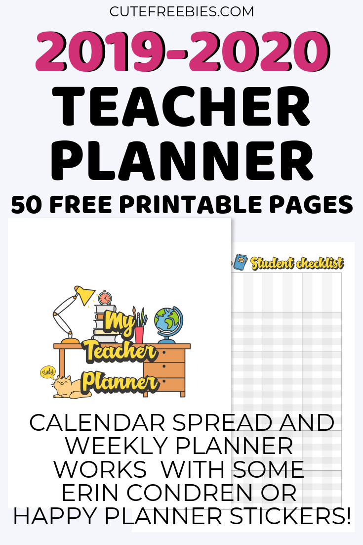 picture relating to Free Printable Planner Stickers Pdf named Trainer Planner For 2019-2020 - Free of charge Printable! - Lovely