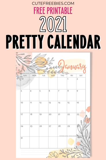 Free Printable 2021 Calendar Pretty Planner Template - 12 monthly planner with beautiful design. #cutefreebiesforyou #freeprintable