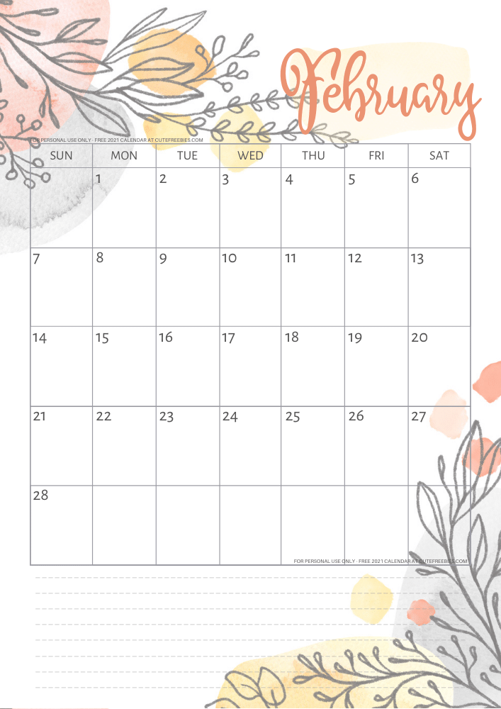 Free Printable February 2021 Calendar Pdf Cute Freebies For You This calendar features a font duo combination, which as you can see from the january page is very simple. free printable february 2021 calendar