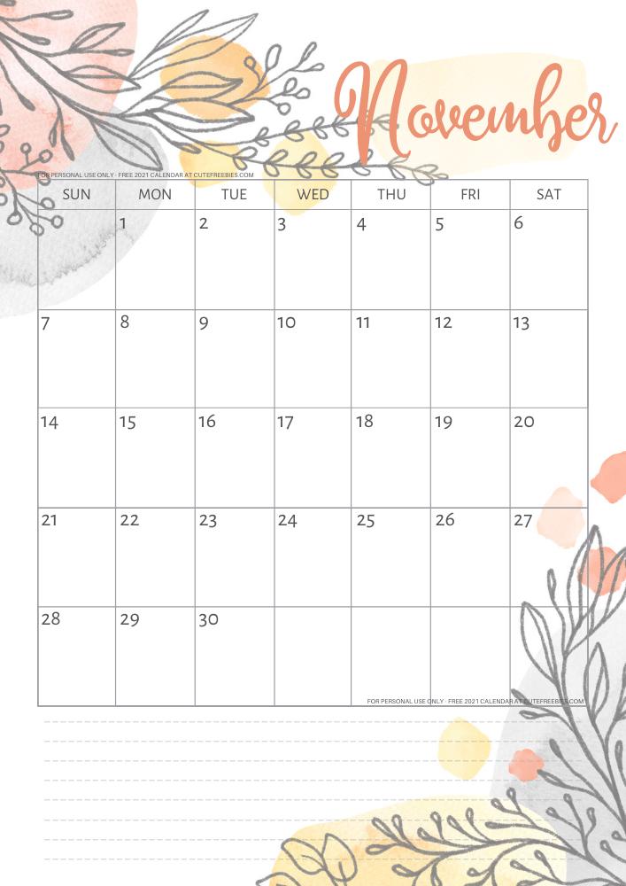 Cute November 2021 Calendar November 2021 calendar pretty printable template   Cute Freebies
