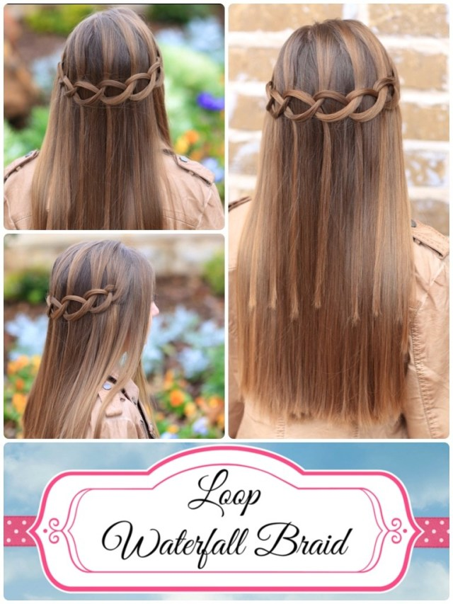 how to create a loop waterfall braid | cute girls hairstyles