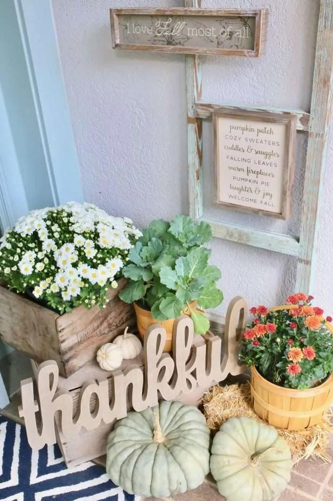 fall flowers in baskets