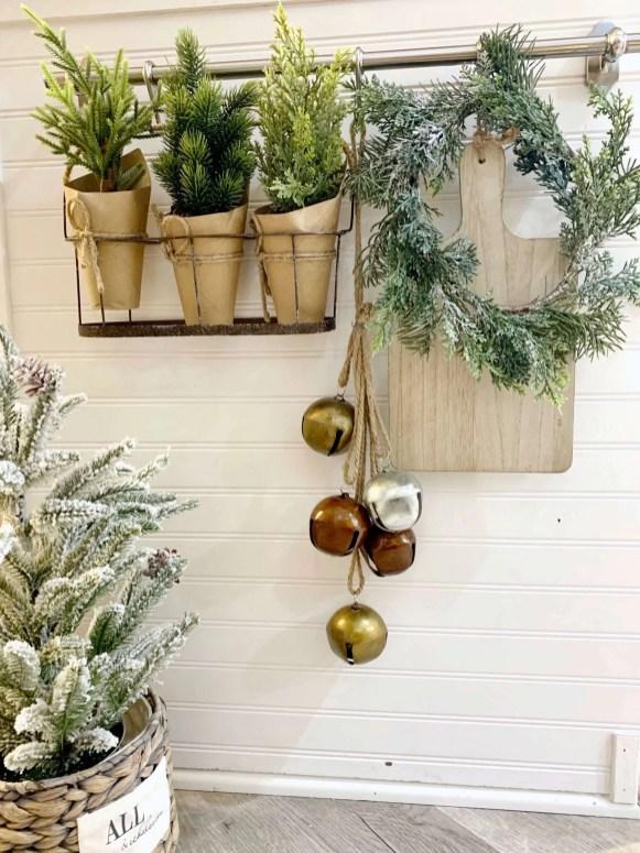 mini wreaths in kitchen