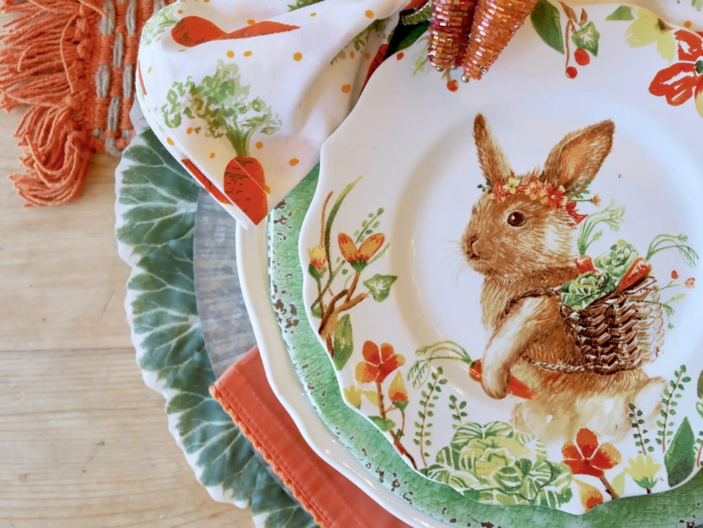Place setting at Easter table with bunny plate