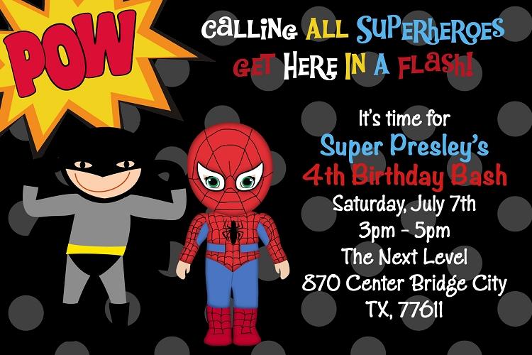 batman spiderman birthday invitation
