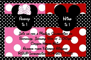 minnie mouse themed party invitations