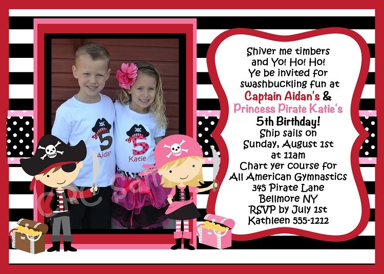 twins pirate birthday invitation