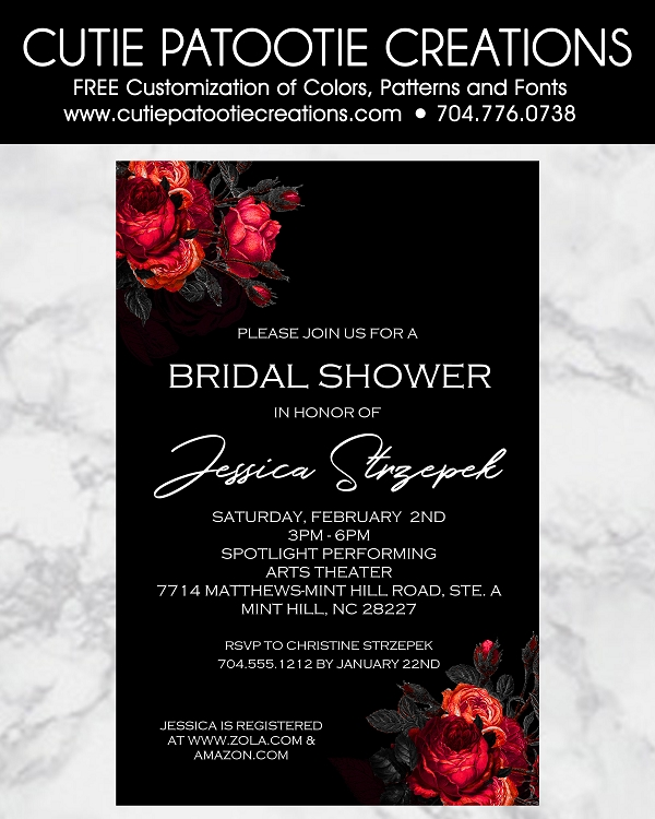 Red Roses Wedding Bridal Shower Invitations