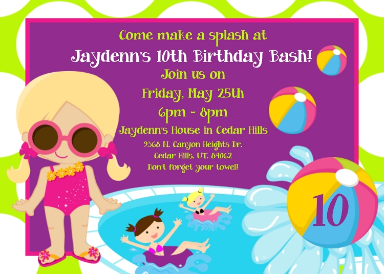 pool party invitations printable or