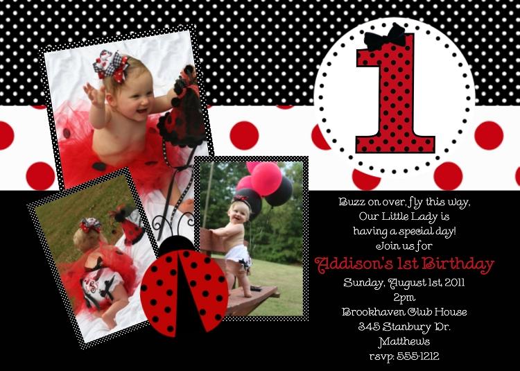 1st birthday ladybug party invite with