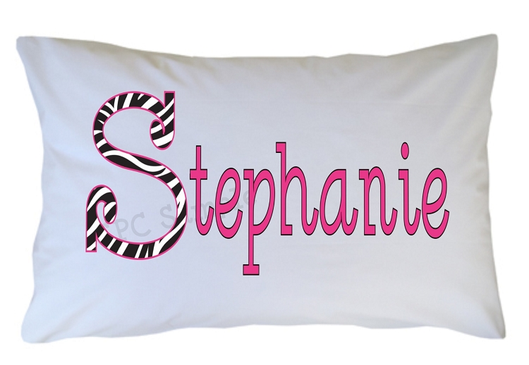 pc70 personalized zebra print initial pillow case for kids