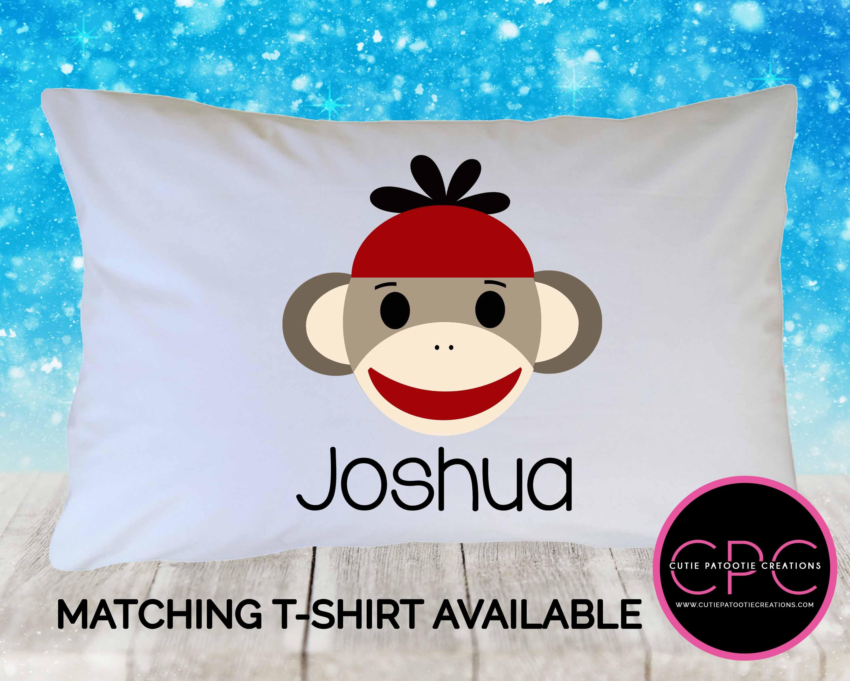 personalized red sock monkey pillowcase custom pillow case for kids