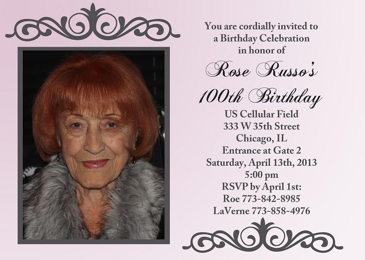 100th birthday birthday party invitations printable or pr