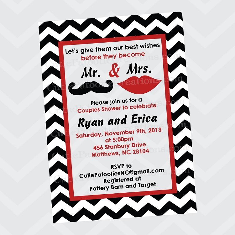 Mr And Mrs Mustache Lips Bridal Shower Invitations Wedding Invitation