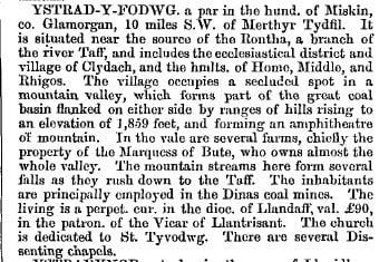 Ystradyfodwg 1868 gazetteer