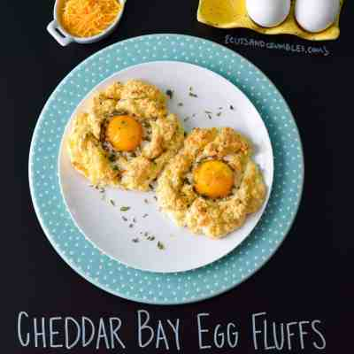 Cheddar Bay Egg Fluffs with title written on chalkboard