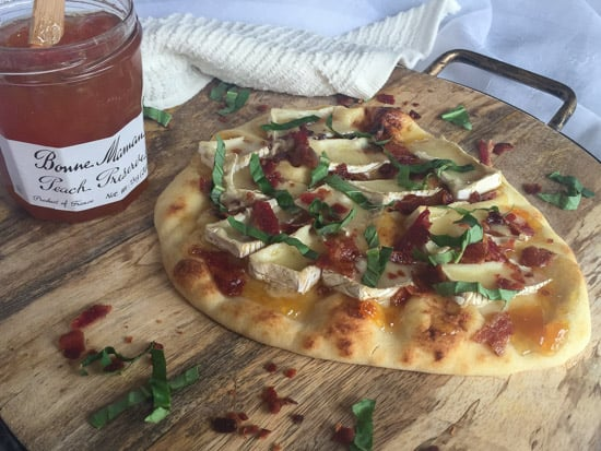 Brie Bacon Peach Basil Flatbread