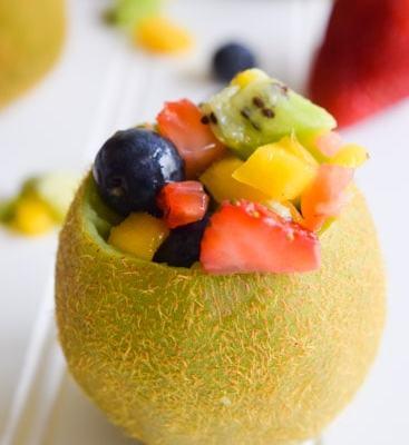 Tropical Fruit Salad in Kiwi Cups