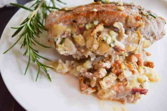 apple bacon blue cheese stuffed pork chops