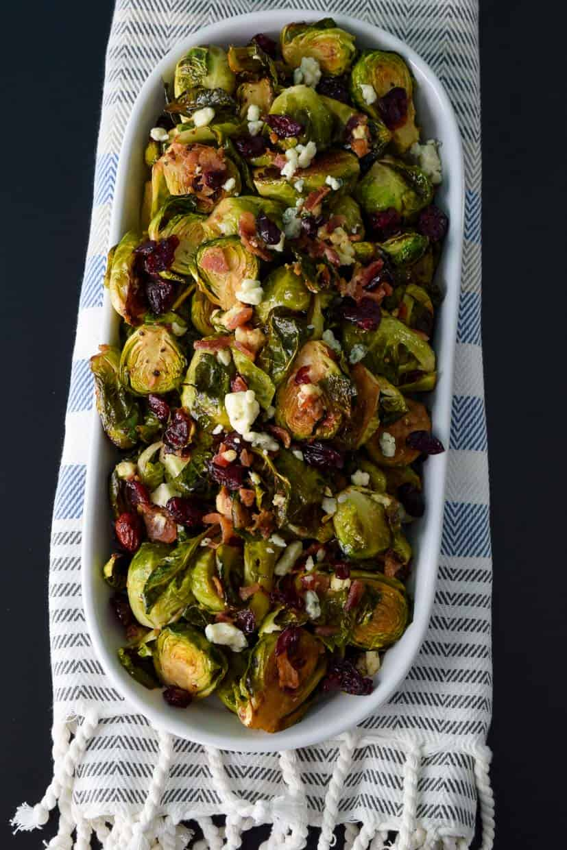 Brussels Sprouts with Bacon and Blue Cheese in platter overhead shot