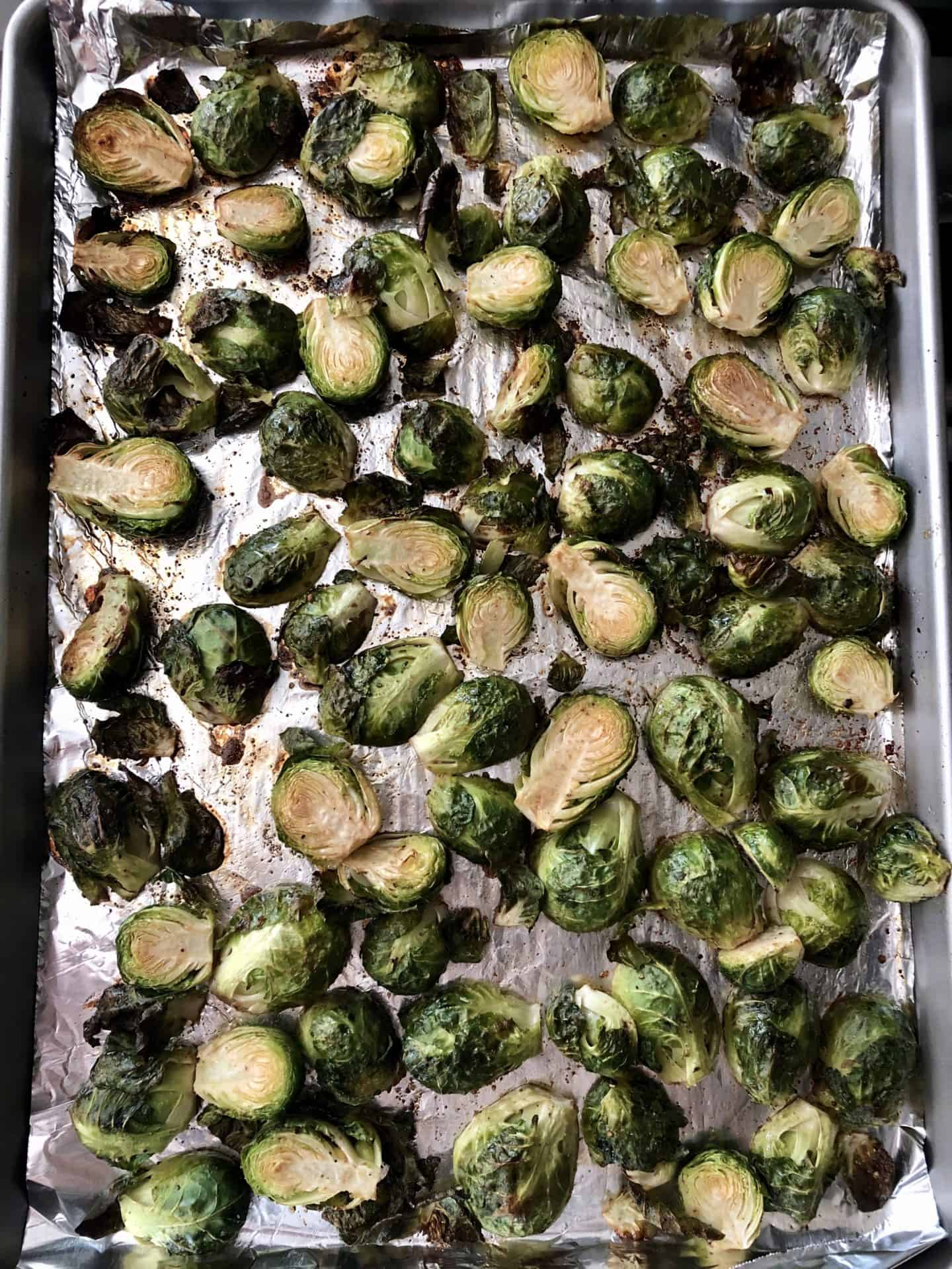 Brussels Sprouts on baking sheet roasted