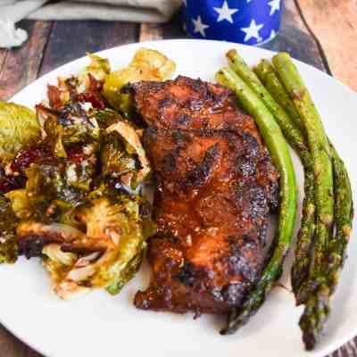 Grilled Chicken Thighs with Beer Marinated Asparagus